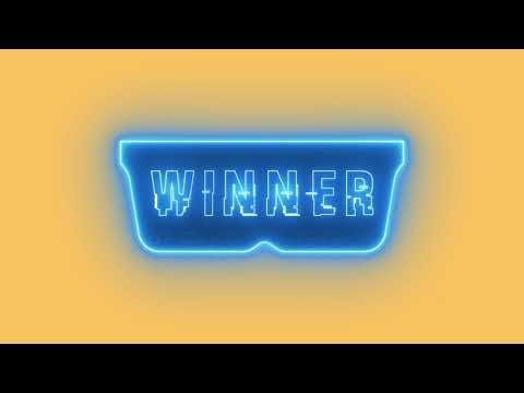 Neon Cyberpunk Futuristic Glasses With Winner Text 4K Stock Animation