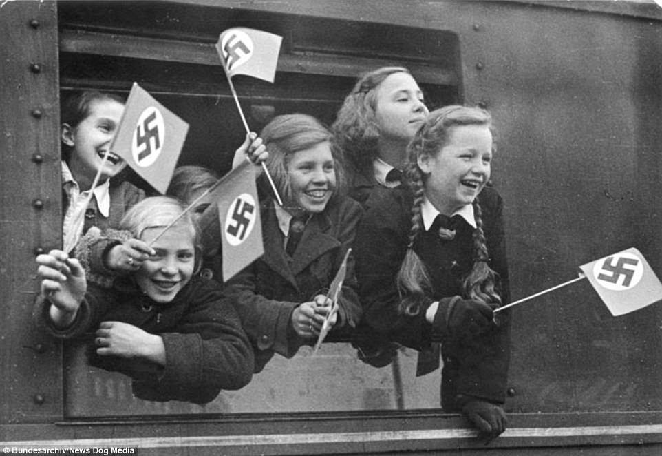 These children are being evacuated from Berlin in               1940 over fears they would be killed in bombing raids by               the RAF. The Nazis initially evacuated children from               Berlin and Hamburg, but as the war continued, other areas               were also evacuated. In some cases mothers with young               children were also evacuated so they would remain safe               from the intensive bombing