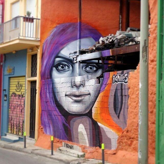 Bold anamorphic piece by @achilles_streetart based in #Athens http://globalstreetart.com/achilles #globalstreetart https://www.instagram.com/p/BAxhYVEAEC1/