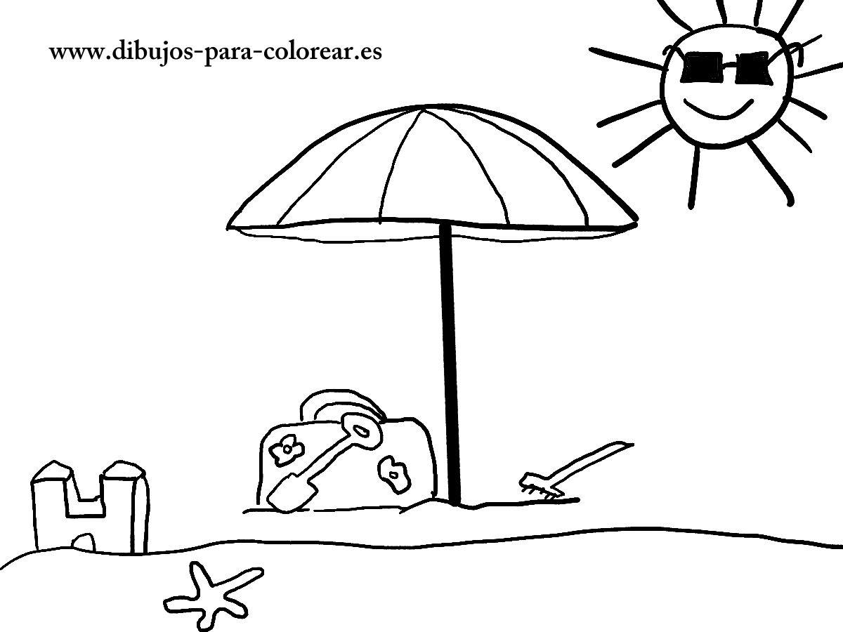 La Sombrilla De La Playa Dibujos Para Colorear