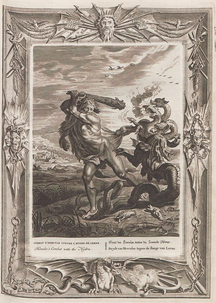 mythical Hercules wields club against 7-headed hydra beast