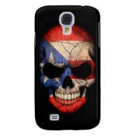 Puerto Rican Flag Skull on Black Galaxy S4 Case