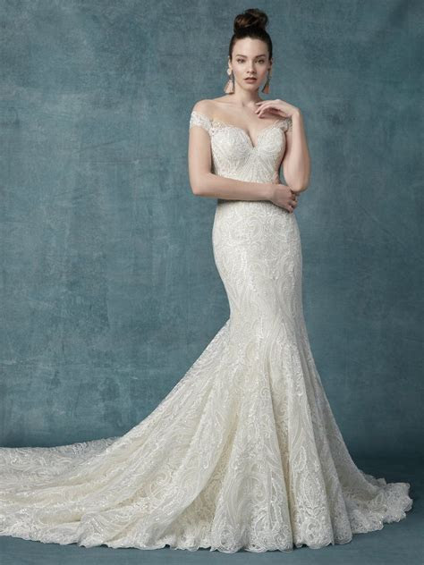 Off The Shoulder Lace And Sequin Fit And Flare Wedding
