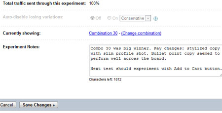 Google Website Optimizer Experiment Notes