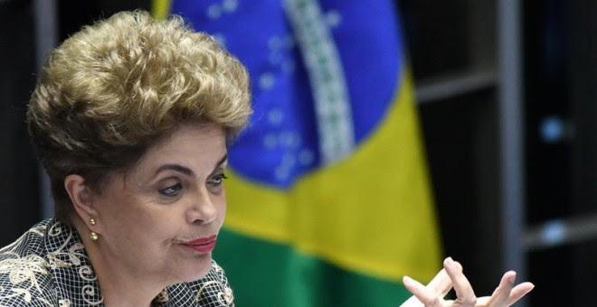 Dilma Rousseff durante su intervención en el Senado, este lunes./ EFE