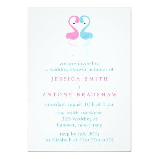 Pink and Blue Flamingos Couples Wedding Shower Card