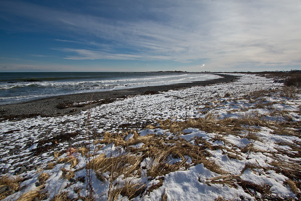 ocean water, snow on the shore, Kittery Point, Maine