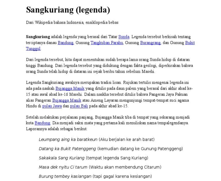 Resensi Novel Bahasa Sunda Sangkuriang Guru Galeri