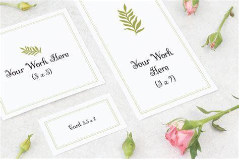 Mockup wedding card, thank you card and name card PSD file