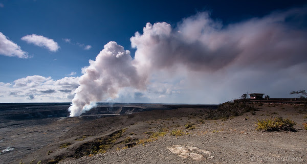 smoke venting from Halema'uma'a crater in hawaii volcanoes national park