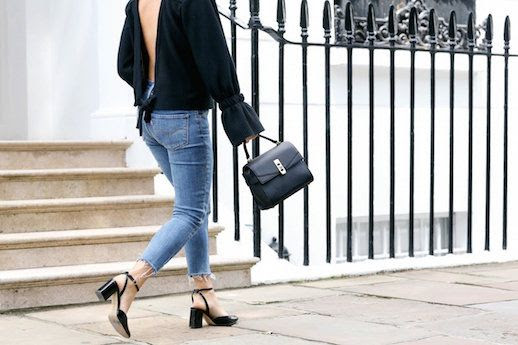 Le Fashion Blog Black Bell Sleeve Open Back Top Denim Black Mary Janes Via We The People Style