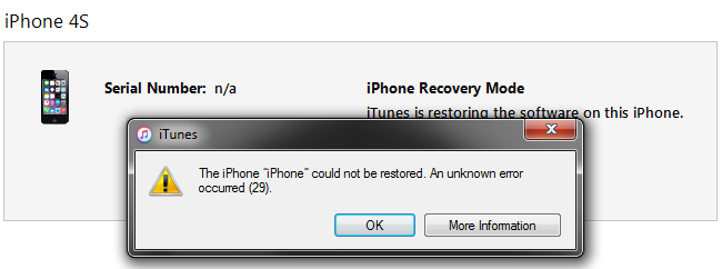 How To Fix iTunes Error 29 iPhone 4S 5 5C 5S 6 6 6S 7