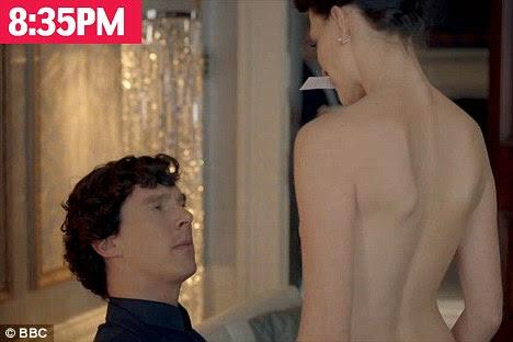 Racfy scenes: The nude Irene Adler flirts with Benedict Cumberpatch's Sherlock Holmes
