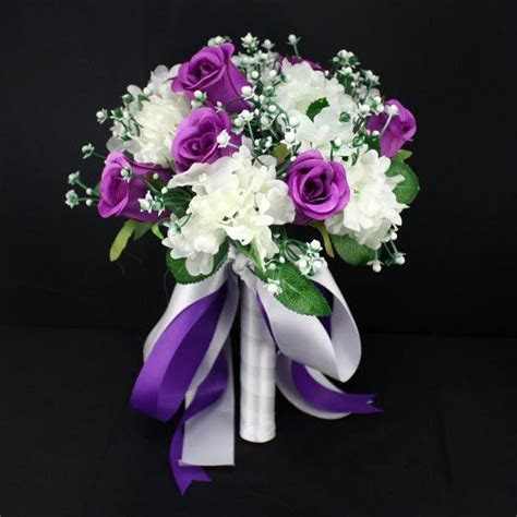 Purple Lavender White Artificial Wedding Bouquets Silk