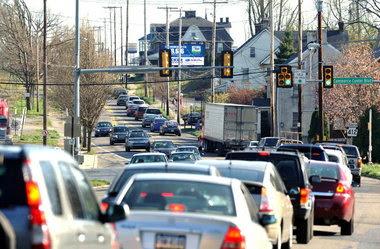 写真:交通量が多い