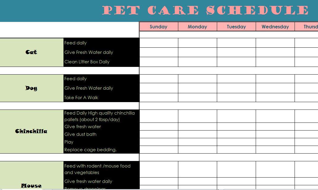 Pet Care Schedule