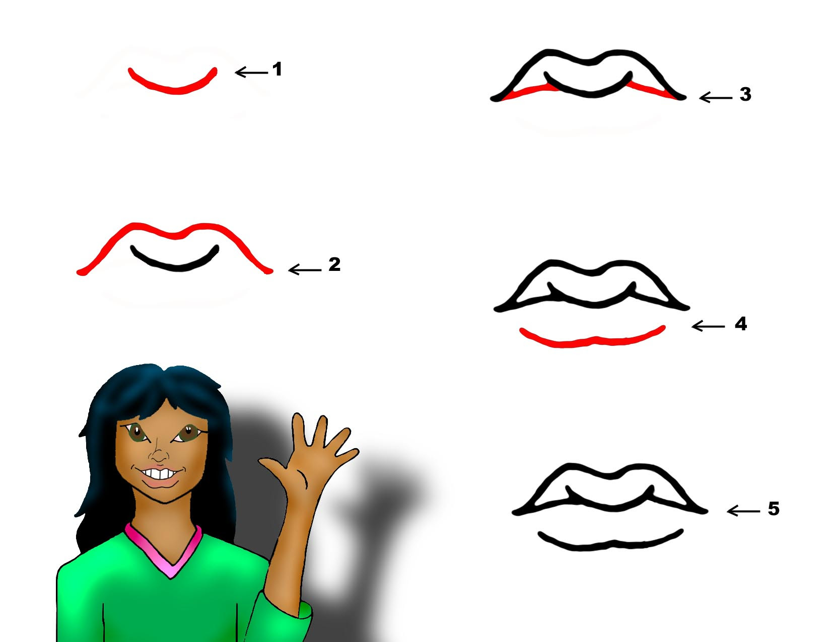 how to draw cartoon mouth
