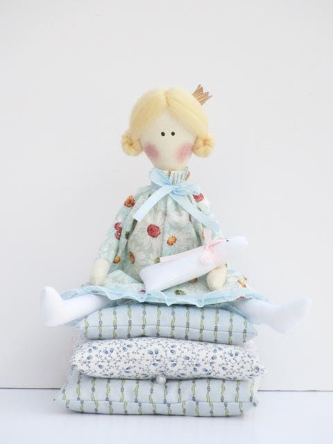 Handmade cloth doll, fairy tale doll Princess and the Pea blue dress,blonde with kitty, fabric doll stuffed doll - gift for girl - HappyDollsByLesya