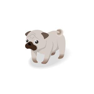 無料素材 独特な表情が上手く描かれたパグ犬の可愛いイラストアイコン
