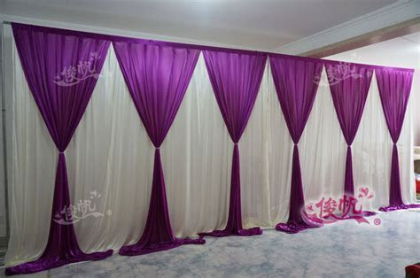 New Fashion 10ft*20ft wedding stage curtain purple Wedding