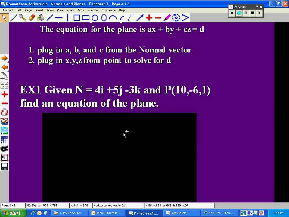 Find equation of a plane given normal vector and a point ...