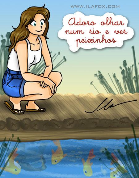 ila fox adora olhar um rio e ver peixinhos nadando - ilustração