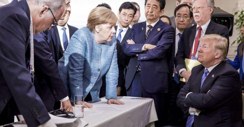 Angela Merkel et Donald Trump pendant le G7 à La Malbaie, Québec, Canada, le 09 juin 2018. © Sipa Press