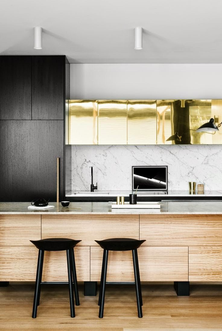 Wow, gold in the kitchen! And gorgeous wood counter. A #CanDoBaby! fave.