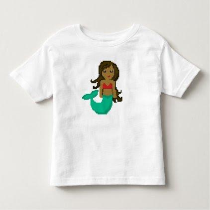 8Bit Pixel Geek Mermaid with Dark Skin Toddler T-shirt