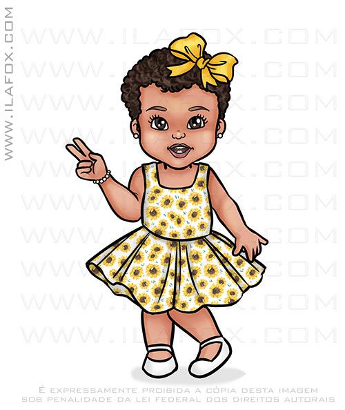 cariatura infantil, caricatura criança, caricatura menina, caricatura digital, caricatura para festa, caricatura menina de vestido, ila fox