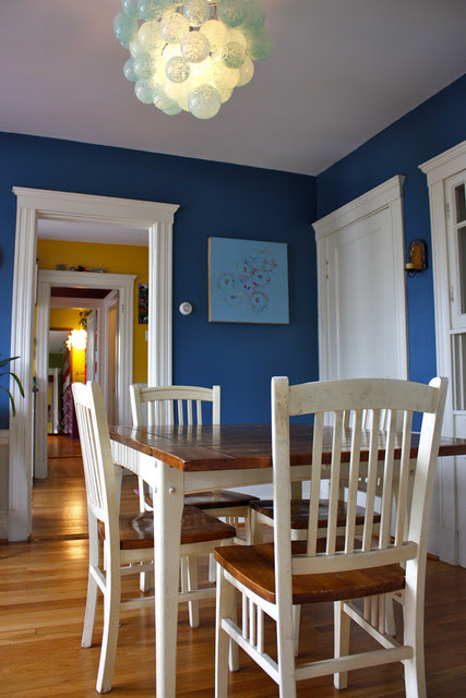 createaspace:  : Boston - Ila and Nate House Tour Redo : Apartment Therapy  I love the blue walls.