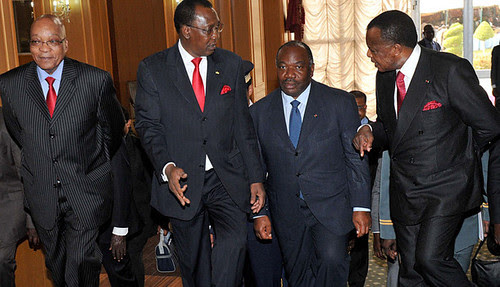 President Jacob Zuma, Chad's Idriss Deby Itno, Gabon President Ali Bongo Ondimba and Congo's Denis Sassou Nguesso in N'Djamena during an Economic Community of Central African States summit. South Africa has been asked to redeploy its troops to the CAR. by Pan-African News Wire File Photos