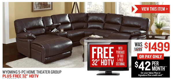 $200 Off + FREE 32 inch HDTV! Wyoming 5-Piece Home Theater