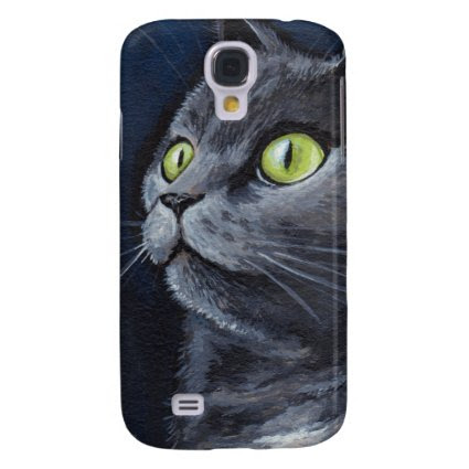 Green Eyed Grey Cat Painting Samsung Galaxy S4 Cover