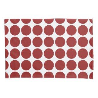 Red Polka Dots on White Pillowcase
