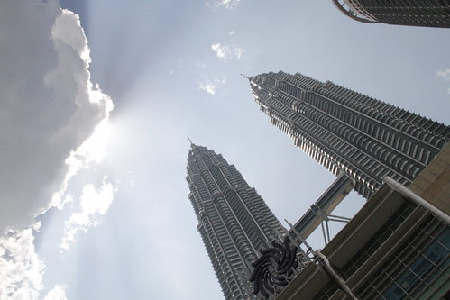 Petronas twin towers bathed in sunlight