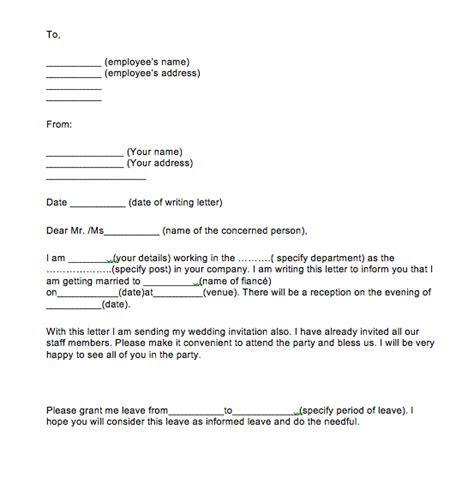 4  Simple Leave Application For Marriage   Top Form
