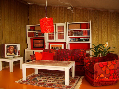 Vintage Lundby dolls' house living room.