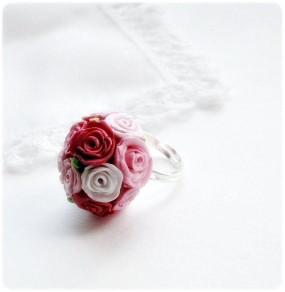 Adjustable Cocktail Ring with tiny pink and white roses