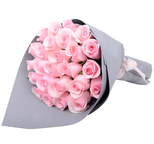 Pink Roses Only Hand Bouquet Gift Flowers Malaysia