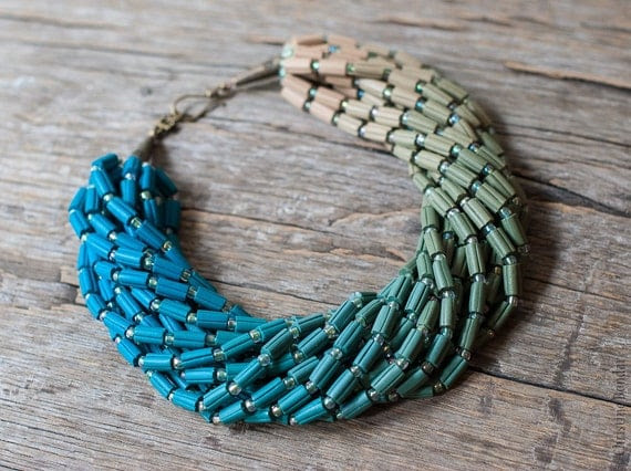 Ombre Statement Necklace - Teal Green Blue Gradient Colors, Color Fade, Ombre Jewelry, Unique Jewelry