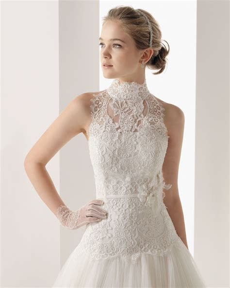 Wedding lace wro   Tulle High Neck Chapel Train A Line
