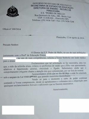 Laudo solicitado pela Secretaria Estadual da Educação para mãe aluna de Piracicaba (Foto: Fernanda Zanetti/G1)