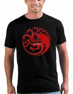 camiseta juego de tronos-Casa Tagaryen-manga corta negra