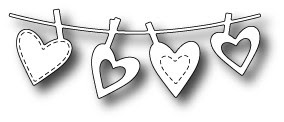 1371 Clothesline Hearts craft die