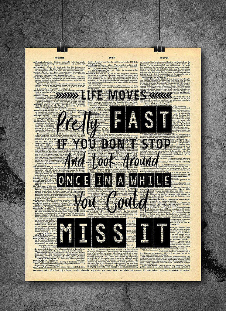 Ferris Bueller Life Moves Pretty Fast Quote Dictionary Art Print