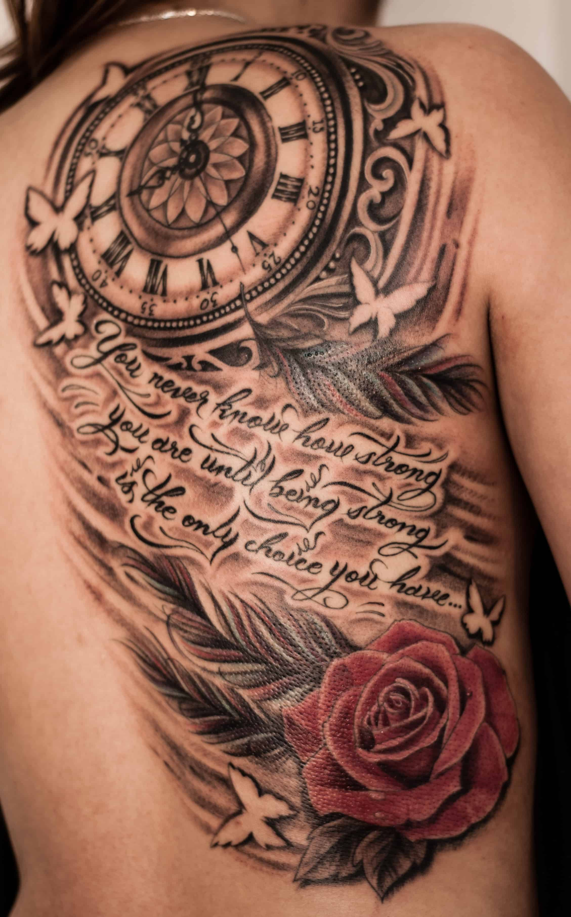 Half Back Clock Tattoo Chronic Ink