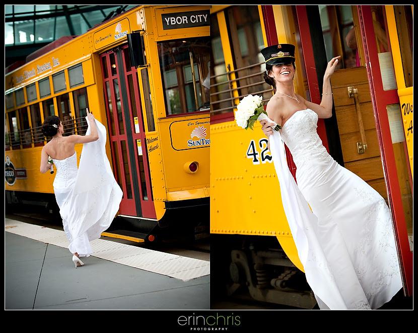 fun bridal shot on a trolley