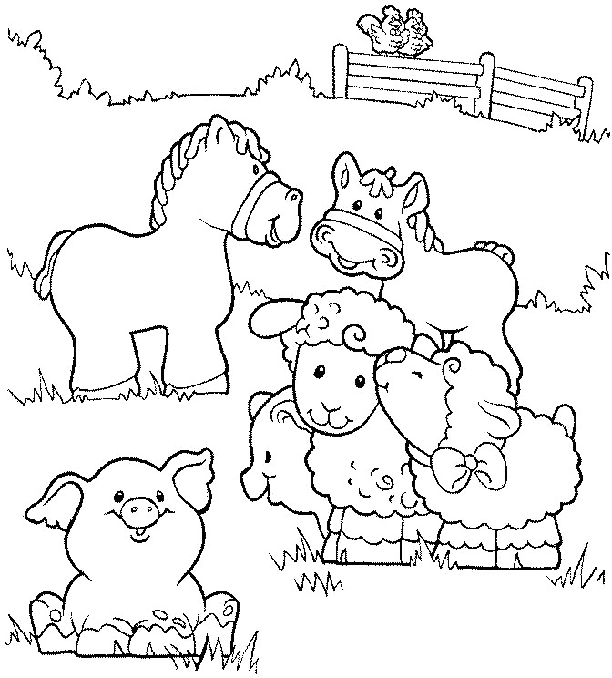 Coloring Pages For Kids Farm Animals - Drawing With Crayons