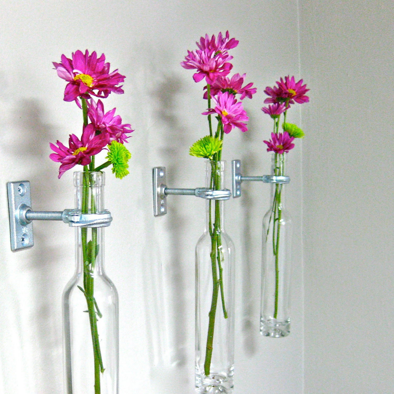 12 wine bottle wall flower vases wall vase wall decor christmas decor wine bottle decor